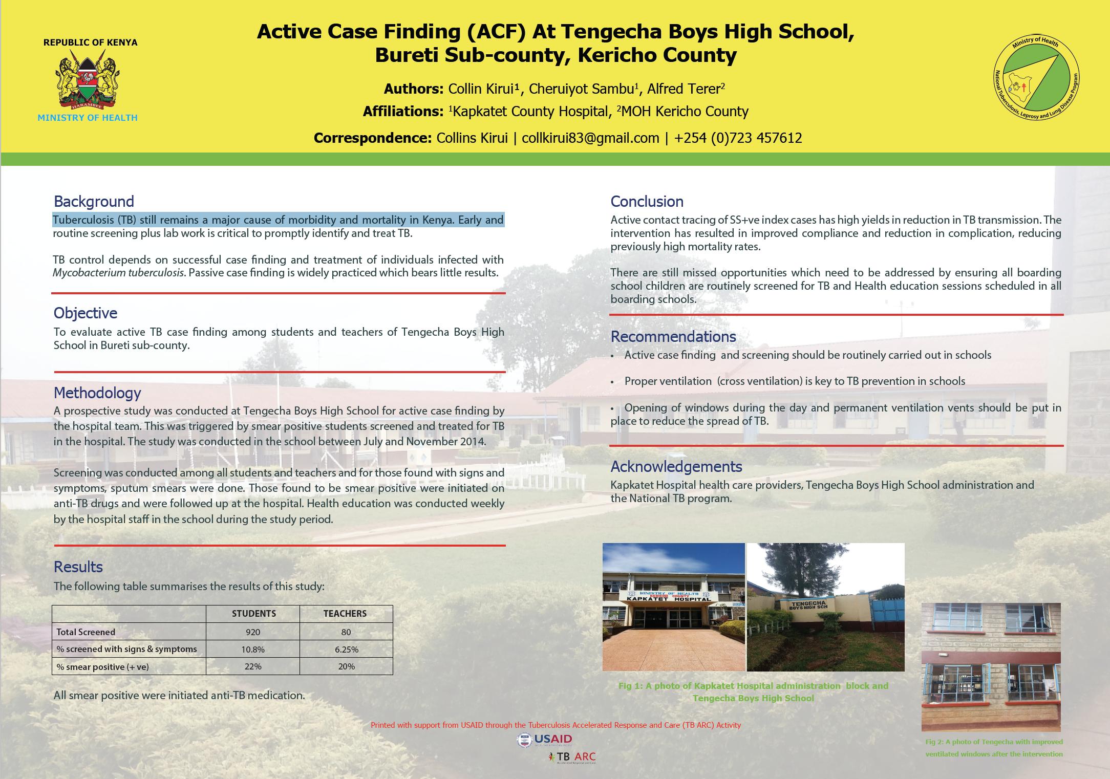 Active Case Finding at Tengecha Boys High School , Bureti Sub-county, Kericho County