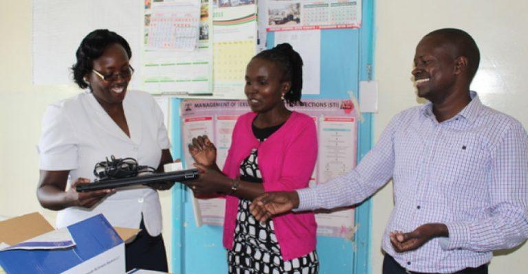 E-learning equipment handover at Kangema Sub-County Hospital