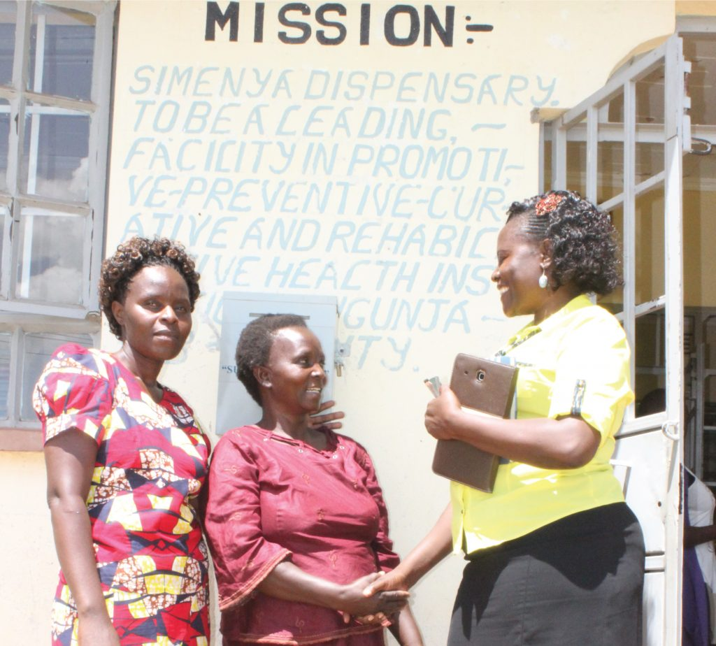 Margaret (centre) greets Siaya County TB and Leprosy Coordinator Mary (right) as CHV Rosemary looks on - TB and Diabetes