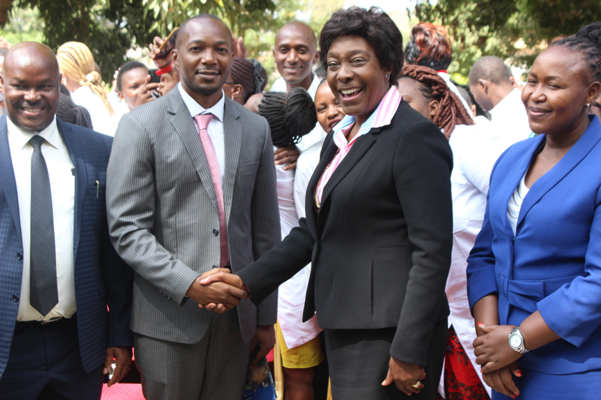 The Governor of Kitui County H.E. Charity Ngilu and CHS CEO Dr Paul Wekesa after the official deployment of health care workers in Kitui County